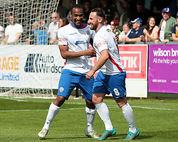 Nabil Shariff celebrates with teammate Joe Curtis after scoring for AFC Rushden & Diamonds, to take the lead to make it 1 - 0 against Hanwell Town, AFC Rushden & Diamonds v Hanwell Town at Hayden Road ground on Saturday 12 August 2017..