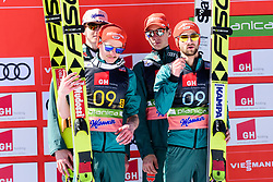 March 23, 2019 - Planica, Slovenia - Team Germany celbrating their second place at the Planica FIS Ski Jumping World Cup finals  on March 23, 2019 in Planica, Slovenia. From left: Team Germany, Team Poland and Team Slovenia. (Credit Image: © Rok Rakun/Pacific Press via ZUMA Wire)