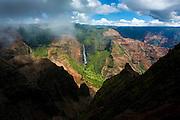 Waimea Canyon waterfall, Kauai, Hawaii