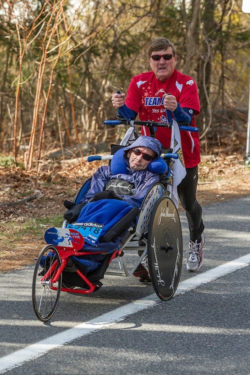 2014 Boston Marathon: Dick and Rick Hoyt run their last Boston Marathon