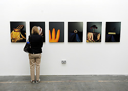 © licensed to London News Pictures. LONDON, UK.  22/06/11. A woman looks at work by a student of painting, Sarah Simmonds. Students present their work at The Royal College of Art's Fine Art Graduate Show 2011. The show runs from 24th June-3rd July 2011. Mandatory Credit Stephen Simpson/LNP
