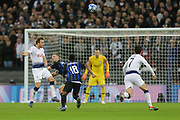 Tottenham Hotspur forward Harry Kane (10) heads the ball towards Tottenham Hotspur forward Son Heung-Min (7) in front of goal during the Champions League group stage match between Tottenham Hotspur and Inter Milan at Wembley Stadium, London, England on 28 November 2018.