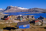 EAST GREENLAND, Inuit culture, colorful Danish-built Inuit houses, Tinit village