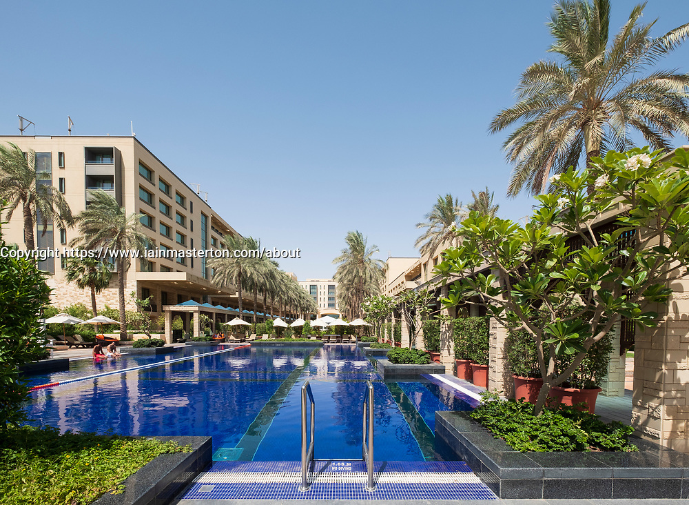 View of swimming pool at Jumeirah Messilah Beach Hotel and Spa in Kuwait City, Kuwait