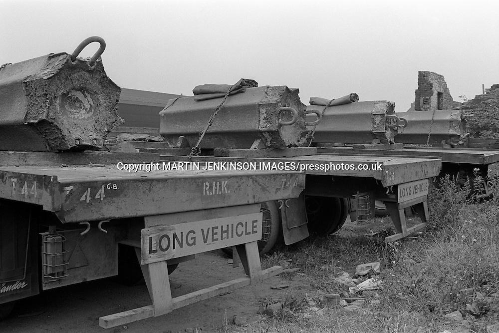 Steel ingots loaded on lorry trailers, Sheffield.