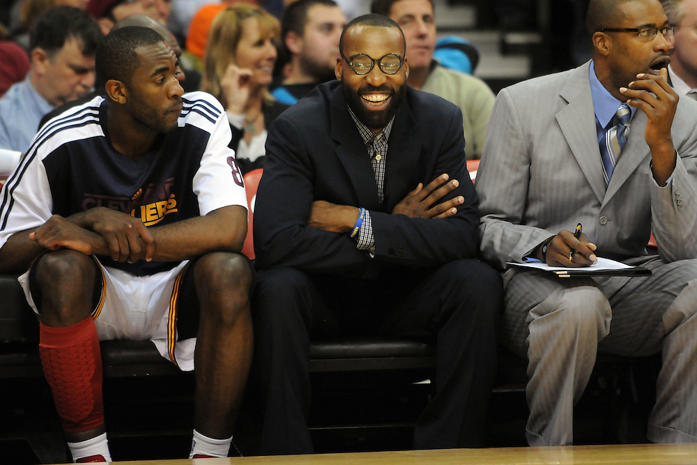 Feb. 27, 2011; Cleveland, OH, USA; Cleveland Cavaliers point guard Baron Davis (85) sits on the bench next to Cleveland Cavaliers guard Christian Eyenga (8) during the fourth quarter at Quicken Loans Arena. The 76ers beat the Cavaliers 95-91.Mandatory Credit: Jason Miller-US PRESSWIRE