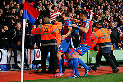 Glenn Murray of Crystal Palace celebrates with Damien Delaney after scoring a goal to make it 1-0 - Photo mandatory by-line: Rogan Thomson/JMP - 07966 386802 - 06/04/2015 - SPORT - FOOTBALL - London, England - Selhurst Park - Crystal Palace v Manchester City - Barclays Premier League.