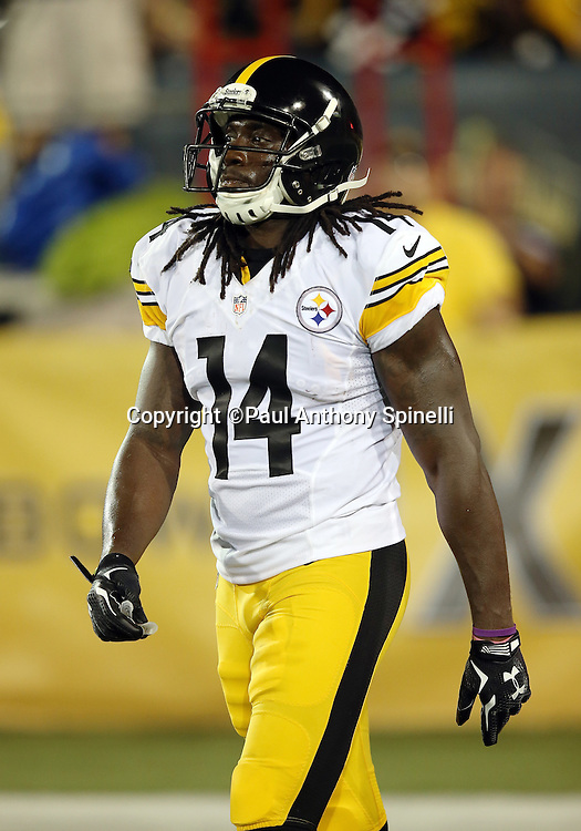 Pittsburgh Steelers rookie wide receiver Sammie Coates (14) looks on during the 2015 NFL Pro Football Hall of Fame preseason football game against the Minnesota Vikings on Sunday, Aug. 9, 2015 in Canton, Ohio. The Vikings won the game 14-3. (©Paul Anthony Spinelli)