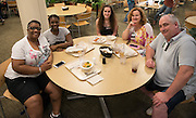 Left to right, Kim Colón, Jade Colón, Kara McKenna, Ann McKenna, and Bill McKenna in Nelson Dining Hall during Bobcat Student Orientation on June 15,  2016. Students and parents enjoyed meals in Nelson Dining Hall while on campus for BSO. © Ohio University / Photo by Kaitlin Owens
