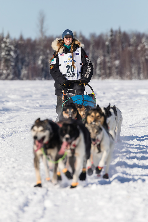Musher Kristy Berington after the restart in Willow of the 46th Iditarod Trail Sled Dog Race in Southcentral Alaska.  Afternoon. Winter.