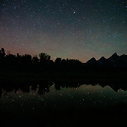 The stars over the Tetons in Grand Teton National Park near Jackson, Wyoming.