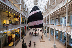 Event Horizon balloon sculpture unveiled at National Museum of Scotland. American artist Jason Hackenwerth returns to Edinburgh with his biggest creation yet: a 30,000 strong balloon sculpture hanging from the top of the National Museum of ScotlandÕs Grand Gallery. This will be currently the biggest balloon sculpture in the world. The installation is part of Edinburgh International S