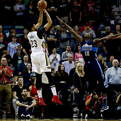 Dec 26, 2016; New Orleans, LA, USA;  New Orleans Pelicans forward Anthony Davis (23) shoots over Dallas Mavericks forward Dorian Finney-Smith (10) during the first quarter of a game at the Smoothie King Center. Mandatory Credit: Derick E. Hingle-USA TODAY Sports