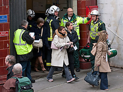 © Licensed to London News Pictures. 22/02/2012. London, UK.  Actors being evacuated from Aldwych tube station during an Olympic security test event in central London today (22/02/2012). The  two-day exercise is being run in a disused tube station to test security in run up to the London Olympics this summer. Photo credit : Ben Cawthra/LNP