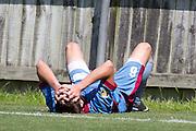 Tom Biss of Hawkes Bay dejected. Team Wellington v Hawkes Bay United, ASB Premiership semi final at David Farrington Park, Wellington. 8 March 2014. Photo: Cameron McIntosh/www.photosport.co.nz