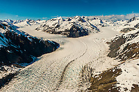 Aerial view of McBride Glacier, Glacier Bay National Park, southeast Alaska USA.