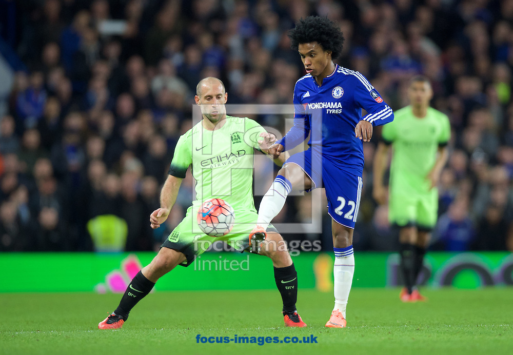 Willian of Chelsea  and Pablo Zabaleta of Manchester City during the FA Cup match at Stamford Bridge, London<br /> Picture by Alan Stanford/Focus Images Ltd +44 7915 056117<br /> 21/02/2016