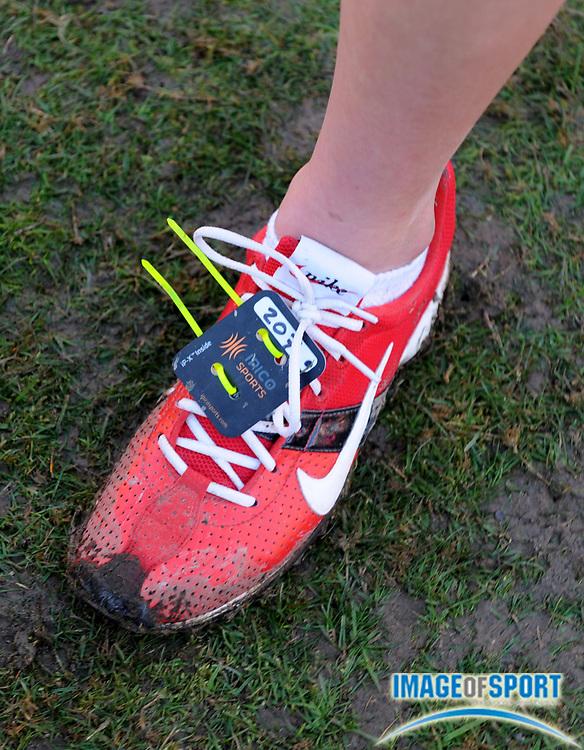 Dec 6, 2008; Portland, OR, USA; A timing chip on a runner's spikes at the Nike Cross Country Nationals at Portland Meadows race track.