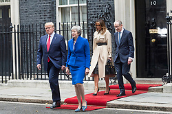 © Licensed to London News Pictures. 04/06/2019. London, UK.  US President Donald Trump, First Lady Melania Trump, British Prime Minister Theresa May and Phillip May leave No.10 Downing St after a visit. Photo credit: Ray Tang/LNP