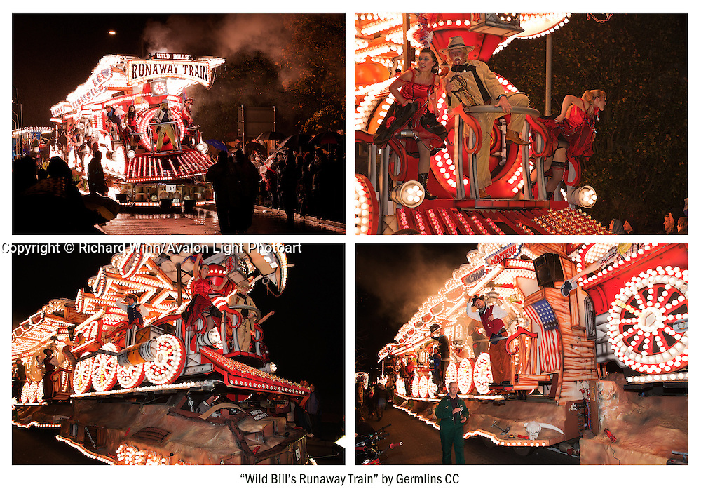 A cluster of photographs from the Bridgwater and the Glastonbury and Chilkwell Guy Fawkes Carnivals in 2010. Featuring Wild Bill's Runaway Train by Gremlins Carnival Club, winner of the Somerset County Cup, having been overall winner in all of the carnivals. Available as either an A4 or an A3 print on heavyweight fine art paper.