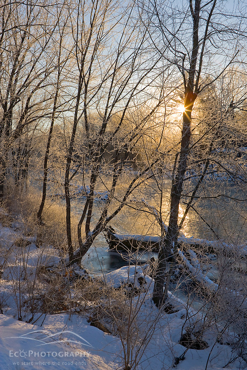 Early morning in winter on the Ashuelot River in Winchester, New Hampshire.