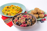 Apple and Berry Scented Quinoa, The Best Scrambled Tofu and Muffins by Christina Pirello
