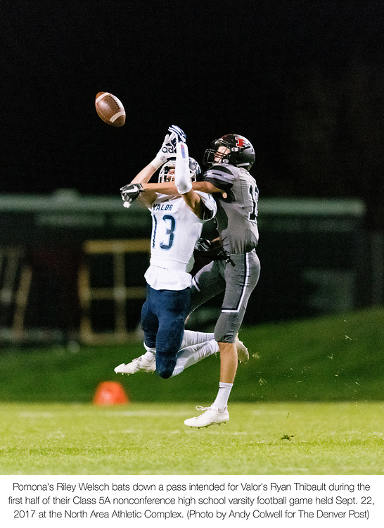 ARVADA - SEPT. 22: Pomona's Riley Welsch bats down a pass intended for Valor's Ryan Thibault during the first half of a Class 5A nonconference high school varsity football game held at the North Area Athletic Complex. (Photo by Andy Colwell/ Special to The Denver Post)
