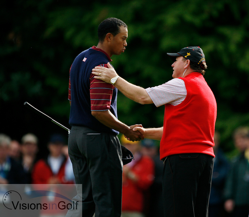 Tiger Woods and ian woosnam after winning on the 16th<br /> on the final day at the 36th Ryder Cup Matches 2006, K Club, Ireland, 060924<br /> Picture Credit: Mark Newcombe / visionsingolf.com