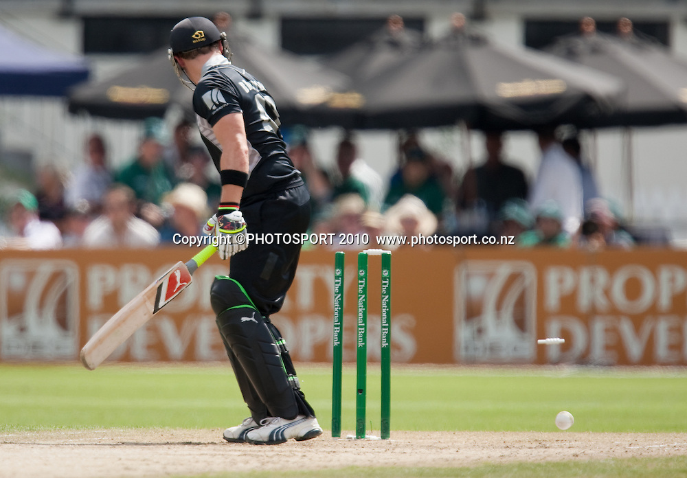 Brendon McCullum is bowled by Doug Bollinger during the third one day Chappell Hadlee cricket series match between New Zealand Black Caps and Australia at Seddon Park, Hamilton, New Zealand. Tuesday 9 March 2010. Photo: Stephen Barker/PHOTOSPORT