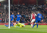 Football - 2017 / 2018 Premier League - Arsenal vs. Everton<br /> <br /> Aaron Ramsey (Arsenal FC) turns away in celebration after opening the scoring at The Emirates.<br /> <br /> COLORSPORT/DANIEL BEARHAM