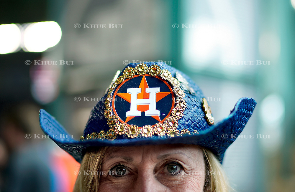 Houston Astros fan with customized hat inside Minute Maid Park July 12, 2018, in Houston, TX.<br /> <br /> Photo by Khue Bui