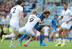 Mirco Bergamasco of Italy comes up against Cameron Cowell of England - Photo mandatory by-line: Dougie Allward/JMP - Mobile: 07966 386802 - 11/07/2015 - SPORT - Rugby - Exeter - Sandy Park - European Grand Prix 7s