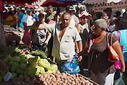 SAINT-DENIS DE LA REUNION, FRANCE - DECEMBER 04, 2010: Unidentified people do shopping at the market in Saint-Denis De La Reunion, France.