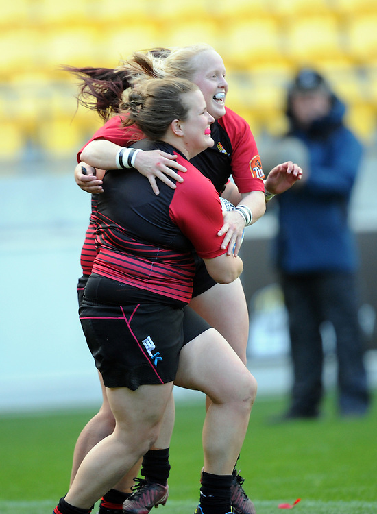 Canterburys' Tara Horsnell, left, celebrates with Canterburys' Kendra Cocksedge after scoring against Auckland in the Women's National Provincial Rugby Final at Westpac Stadium, Wellington, New Zealand, Saturday, October 26, 2013. Credit:SNPA / Ross Setford