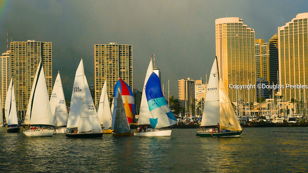Friday night sailboat race, Ala Wai Yacht Harbor, Ala Moana Beach Park, Waikiki, Honolulu, Hawaii