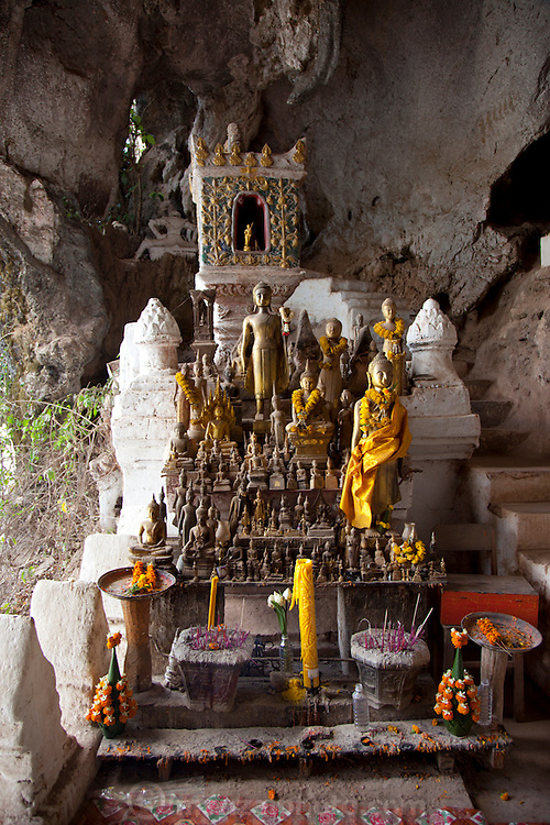 Pak Ou (also called Tam Ting Caves) near Luang Prabang, Laos on the Mekong River. In the caves are large collection of Buddhist statuary.
