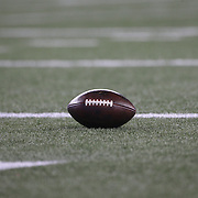FOXBOROUGH, MASSACHUSETTS - JANUARY 14: An American football on the field during warm up before the Houston Texans Vs New England Patriots Divisional round game during the NFL play-offs on January 14th, 2017 at Gillette Stadium, Foxborough, Massachusetts. (Photo by Tim Clayton/Corbis via Getty Images)