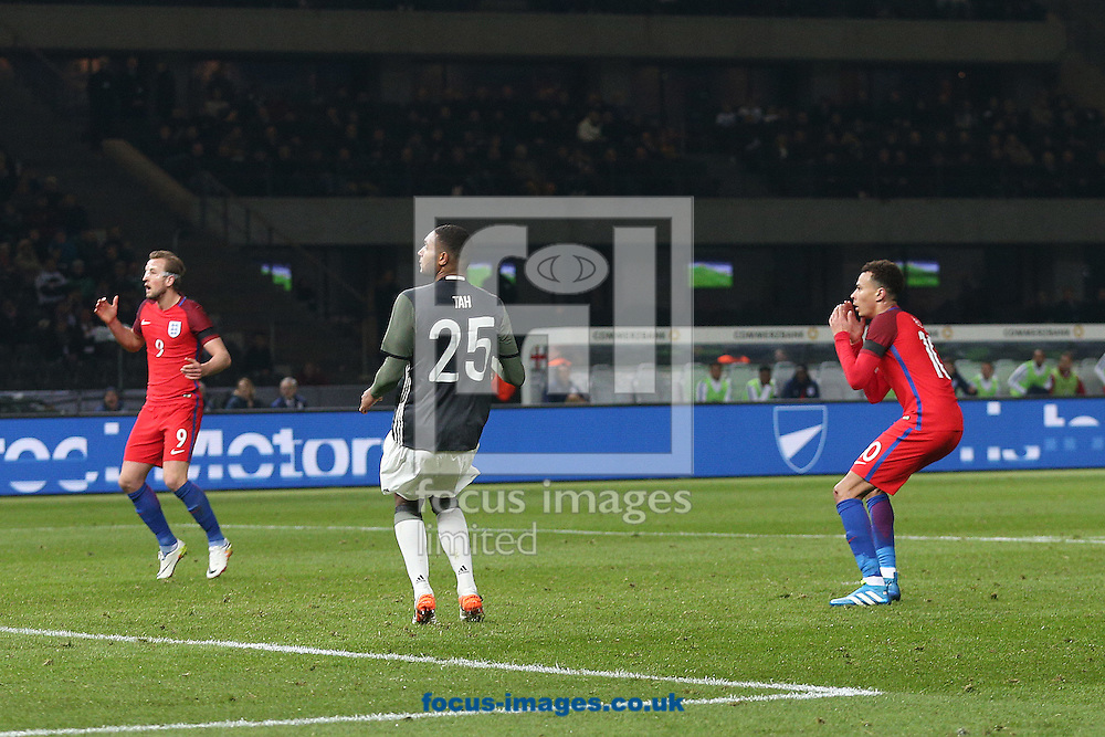Dele Alli of England rues missing a great chance to put England ahead during the International Friendly match at Olympiastadion Berlin, Charlottenburg-Wilmersdo<br /> Picture by Paul Chesterton/Focus Images Ltd +44 7904 640267<br /> 26/03/2016