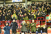 Burton Albion fans celebrate the 2-1 win during the EFL Sky Bet Championship match between Barnsley and Burton Albion at Oakwell, Barnsley, England on 20 February 2018. Picture by John Potts.
