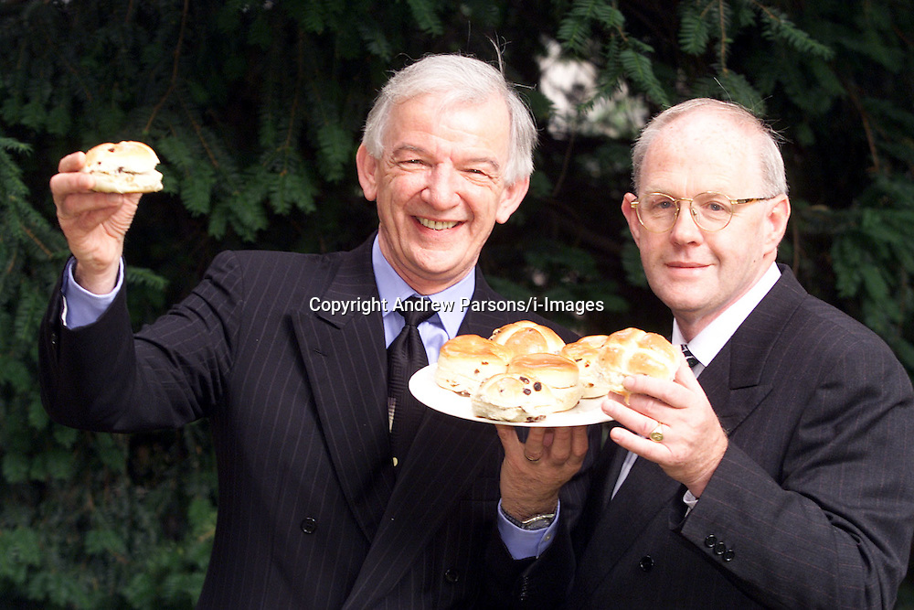 Greggs, L to R: Mike Darrington M.D and Malcolm Simpson F.D pose with Greggs hot cross buns. .Photo by Andrew Parsons/i-Images.All Rights Reserved ©Andrew Parsons/i-images.See Instructions.