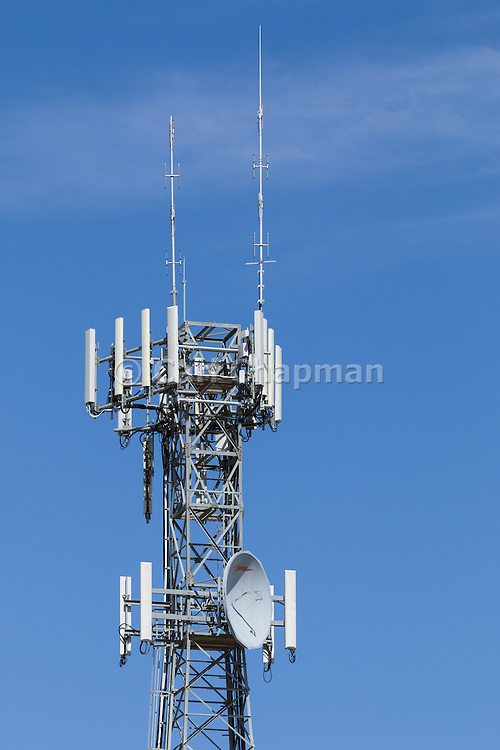 Provincial  cellular, microwave and telecom communications systems lattice tower in Cobram, Victoria, Australia.