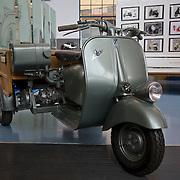 Ape 150 cassone three wheeled transporter circa 1953, Piaggio Museum, Pontedera, Tuscany, Italy