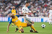 Real Madrid's Cristiano Ronaldo and Apoel's Carlos Roberto Da Cruz Junior during UEFA Champions League match between Real Madrid and Apoel at Santiago Bernabeu Stadium in Madrid, Spain September 13, 2017. (ALTERPHOTOS/Borja B.Hojas)
