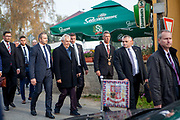 """Czech president Milos Zeman surrounded by bodyguards and local politicians arrives at his """"meetings with citizens"""" at the village of Brasy located in the Pilsen Region.  Miloš Zeman (born 28 September 1944) is the third and current President of the Czech Republic, in office since 8 March 2013.  He announced his candidacy for the 2018 presidential elections which will be held in the Czech Republic on 12–13 January."""