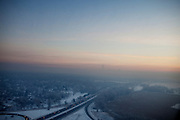 An aerial view at dawn over Minneapolis, Minnesota on Thursday, January 22, 2009.