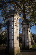 The entrance/exit pillar and gate to Dulwich Park in the south London borough of Southwark.