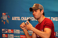 Enrique Iglesias chats with the audience during the Airtel CLT29 Press Conference with Enrique Iglesias held at the Sandton Sun Hotel in Johannesburg on the 9 September 2010 as part of the build up to the Champions League T20 tournament being held in South Africa between the 10th and 26th September 2010..Photo by: Ron Gaunt/SPORTZPICS/CLT20