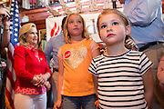 Catherine Cruz, 4, daughter of U.S. Senator and GOP presidential candidate Ted Cruz during a campaign event at the Liberty Tap Room restaurant August 7, 2015 in Mt Pleasant, South Carolina. Cruz began a seven-day bus tour called the Cruz Country Bus Tour of southern states following the event.