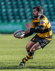 Newports' Ryan James in action during todays match.<br /> <br /> Photographer Simon Latham/Replay Images<br /> <br /> Principality Premiership - Newport v Ebbw Vale - Sunday 4th February 2018 - Rodney Parade - Newport<br /> <br /> World Copyright © Replay Images . All rights reserved. info@replayimages.co.uk - http://replayimages.co.uk