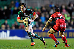 Matt Smith of Leicester Tigers in attack - Photo mandatory by-line: Patrick Khachfe/JMP - Mobile: 07966 386802 07/12/2014 - SPORT - RUGBY UNION - Leicester - Welford Road - Leicester Tigers v Toulon - European Rugby Champions Cup